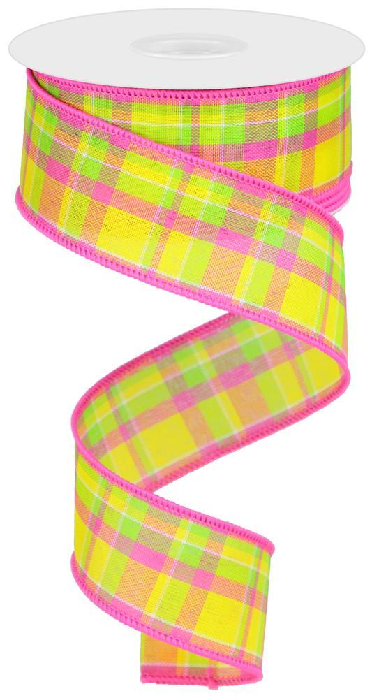 "1.5""x10yd Check - Yellow/Pink/Lime"