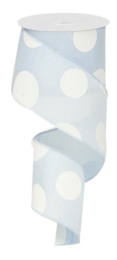2.5in x 10yd - Light Blue White-Large Multi Dots Ribbon