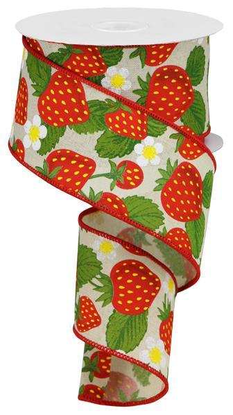 2.5in x 10yd - Strawberries on Royal Ribbon