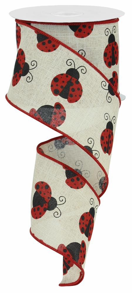 2.5in X 10yd Lt Natural Red Black Ladybug Royal
