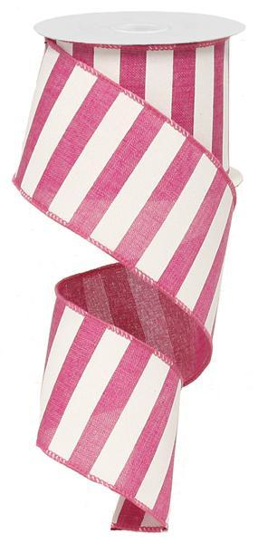2.5in x 10yd - Fuchsia-White Horizonal Stripe Ribbon