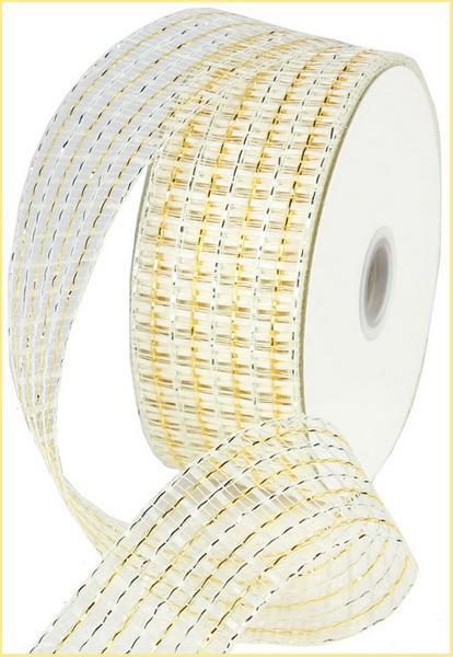 2.5in. x 20yd Cream White Gold Basket Weave Mesh