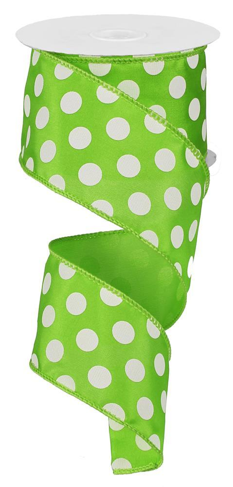 2.5in x 10yd - Lime White Large Polka Dot Ribbon