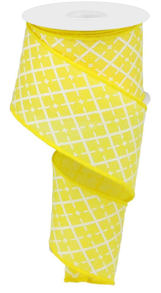 2.5in x 10yd - Yellow Glittered Argyle on Royal Ribbon