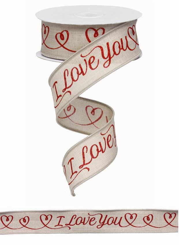 "1.5""x10yd I Love you on Royal - Natural/Red"