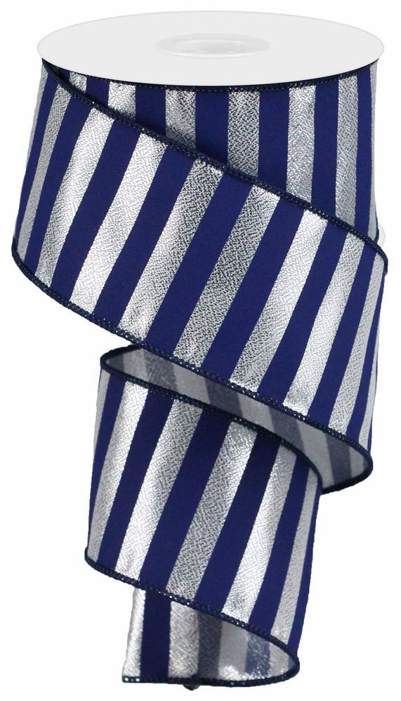"2.5""X10yd Metallic Horizontal Stripe - Navy/Silver"