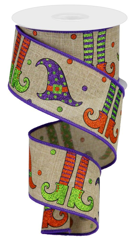 "2.5""x10yd Witch/Hat/Legs on Royal - Beige/Green/Purple/Orange/Black"