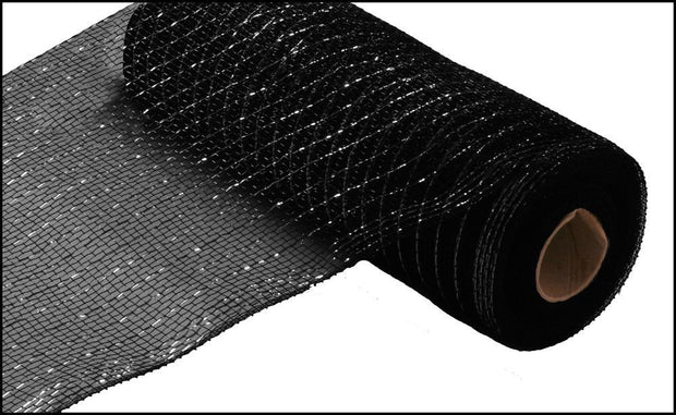 10in x 10yd - Black Metallic Mesh