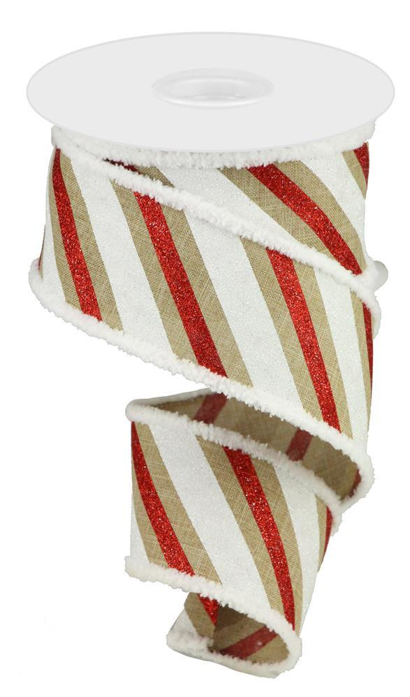 "2.5""x10yd Diagonal Glitter Stripe - Natural/Red/White"