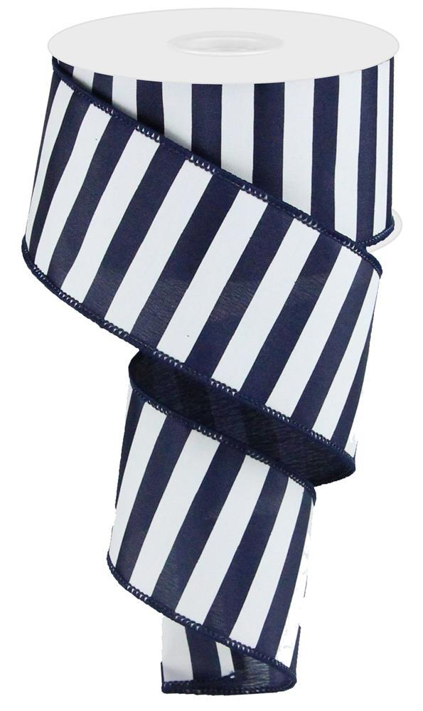 2.5in x 10yd - Medium Horizontal Stripe - Navy Blue Ribbon