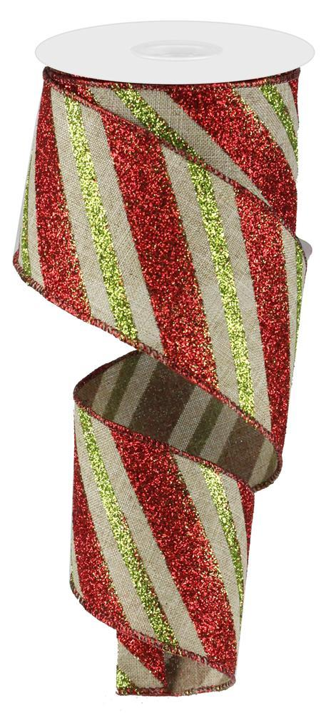 2.5in x 10yd - Beige Red Lime-Diagonal Glitter Stripe Ribbon