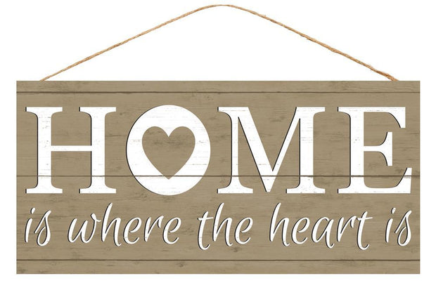 "12.5""-Tan White-Home Is Where the Heart Is Sign"