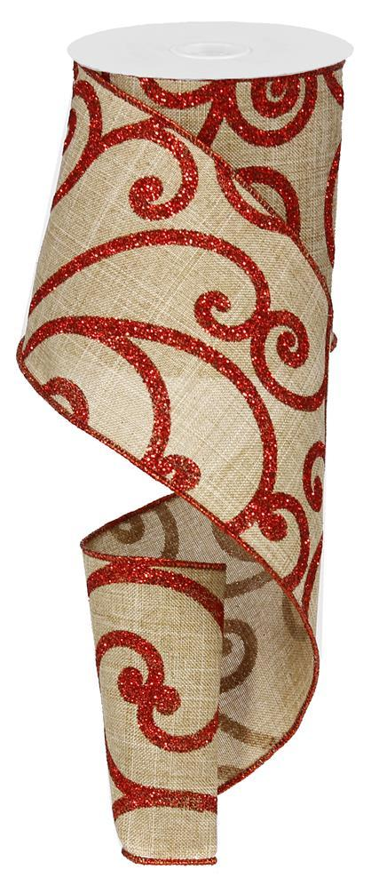 "4""x10yd Bold Scroll on Royal - Light Beige/Red"