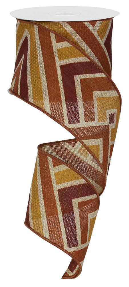 2.5in. x 10yd Natural Burgundy Rust Butternut Diamond Stripe Cross Royal