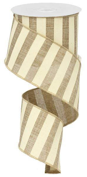 2.5in x 10yd - Beige Ivory Horizonal Stripe Ribbon
