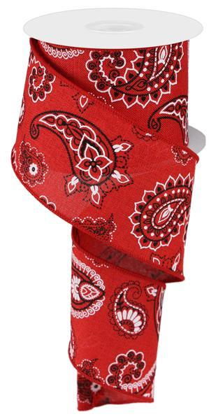 2.5in x 10yd Red Bandana Ribbon