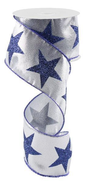 "2.5""x10yd Bold Star on Metallic - Silver/Blue"