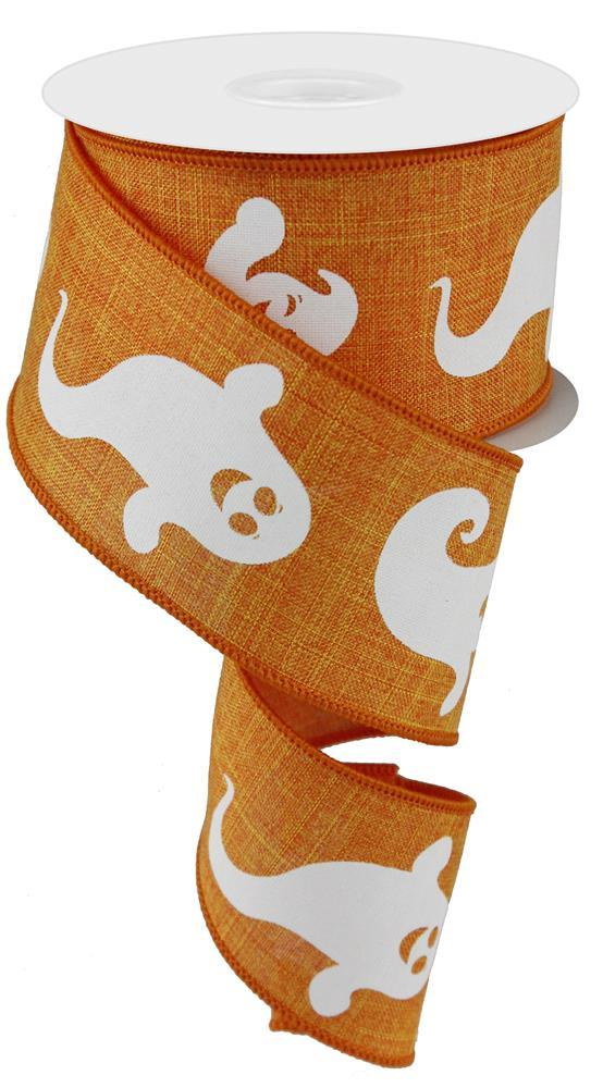 2.5in x 10yd - Orange White Ghost on Royal Ribbon