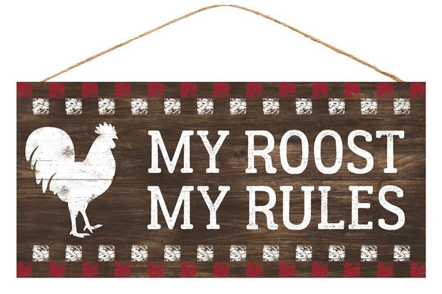 "12.5""Lx6""L My Roost My Rules Sign - Brown/Red/White"