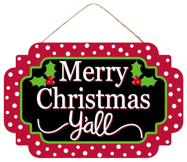 "12.5"" x 8""-Black Red Green-Merry Christmas Y'all Sign"