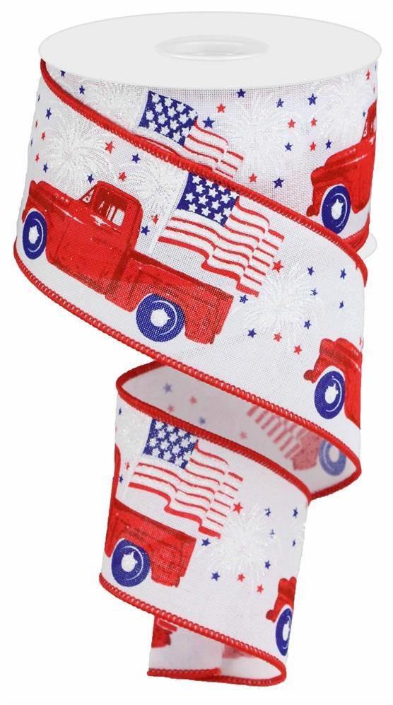 2.5in x 10yd - White Red Blue Patriotic Truck Ribbon