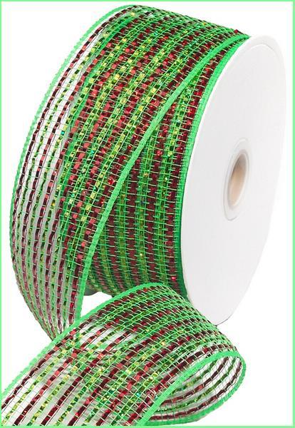 2.5in. x 25yd Lime Red Wide Foil Mesh