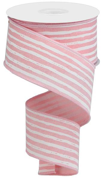 "2.5""X10yd Irregular Stripes On Royal - Pale Pink White"