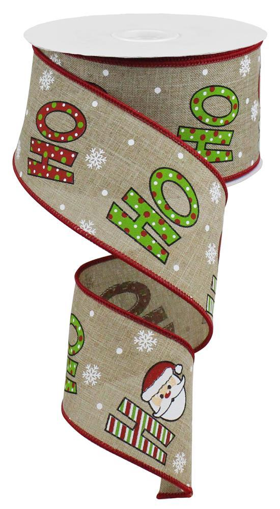 "2.5""X10yd HoHoHo on Royal - Beige/Red/White"