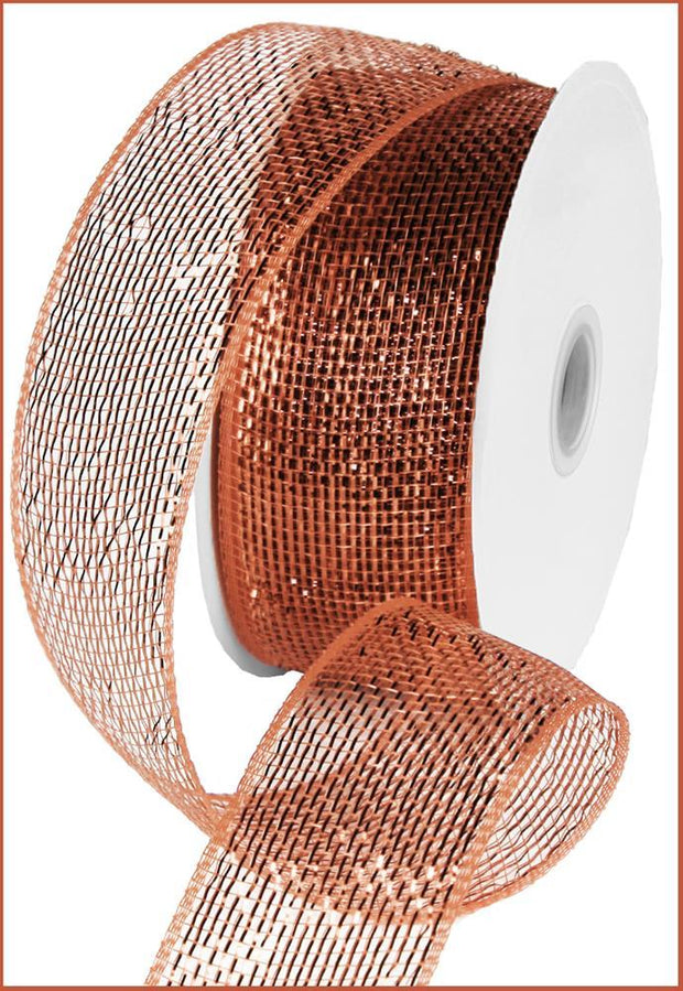 2.5in x 25yd - Brown Copper Metallic Mesh Ribbon