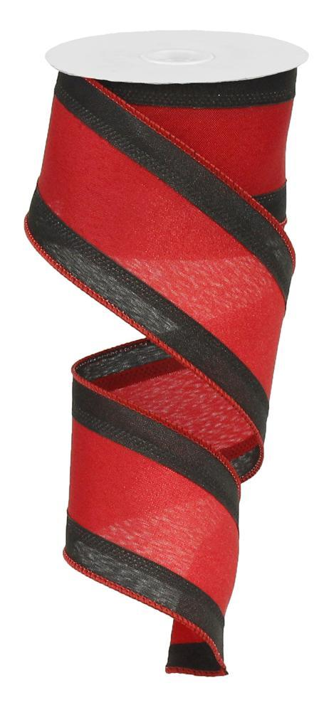 "2.5""x10yd Satin Ribbon - Black/Red"