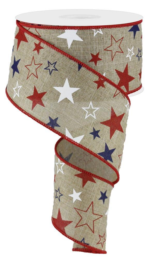 2.5in x 10yd - Red White Blue Stars Print Ribbon