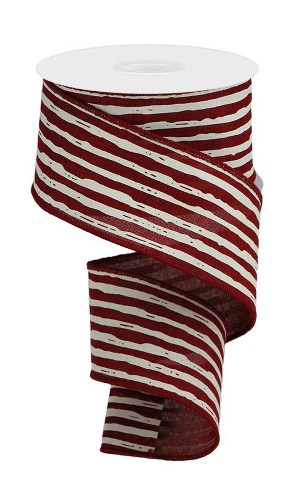 "2.5""X10yd Irregular Stripes On Royal - Burgundy/Cream"