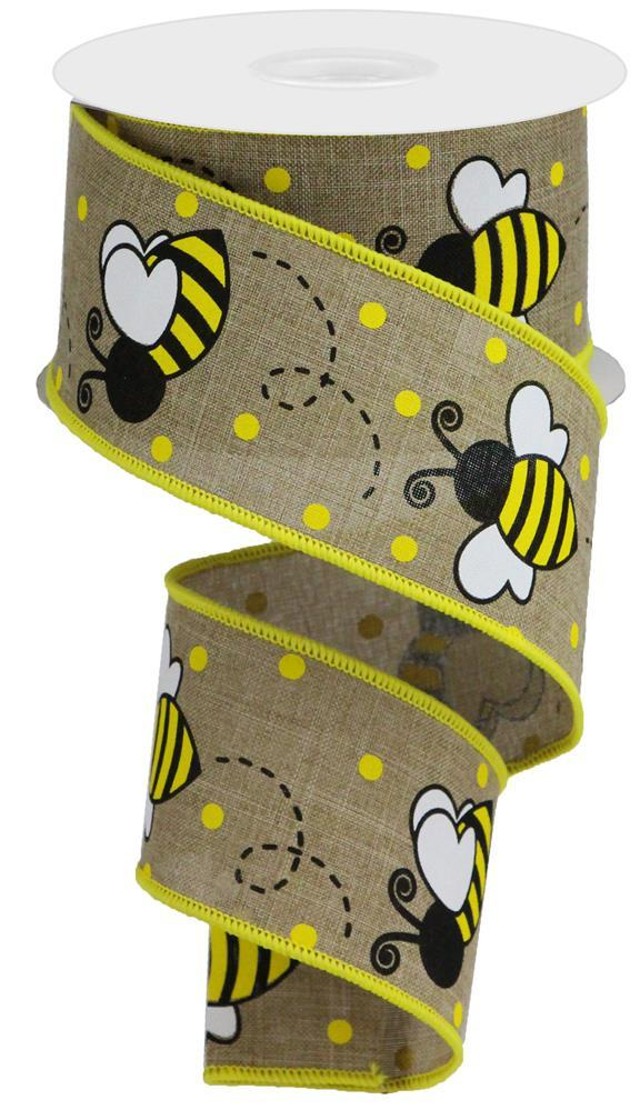 "2.5""x10yd Bumble Bee on Royal - Beige/Yellow/Black/White"