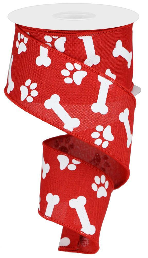 "2.5""x10yd Paw/Bones Print - Red/White"