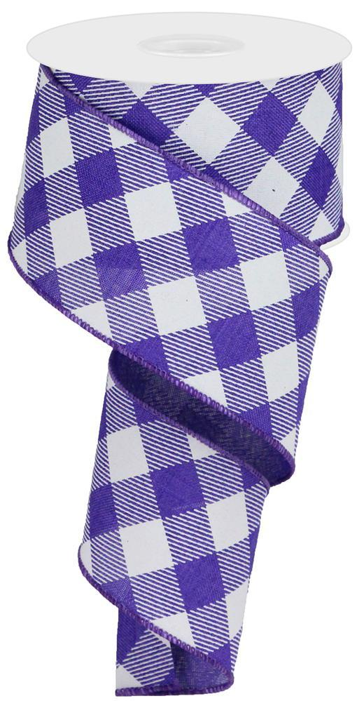 "2.5""x10yd Diagonal Check on Royal - Purple/White"