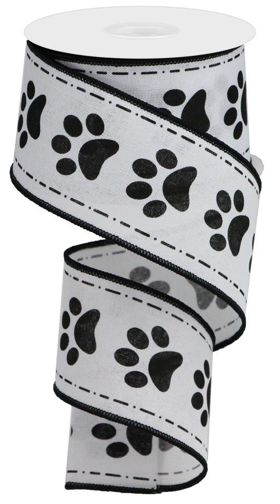 "2.5""x10yd Paw Prints - White/Black"