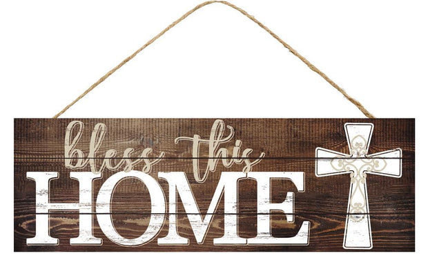 15in x 5in - Brown/Tan/White Bless This Home Cross Sign