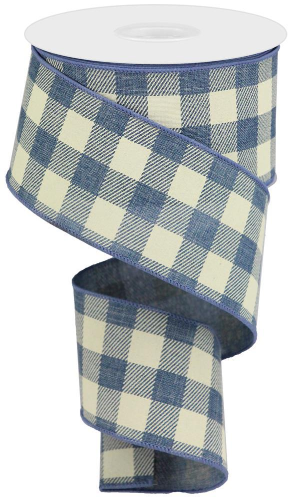 2.5in x 10yd - Faded Denim/Ivory Plaid Striped Check on Royal Ribbon