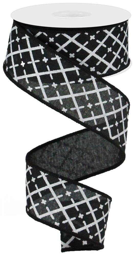 "1.5""x10yd Glittered Argyle on Royal - Black/White/Silver"