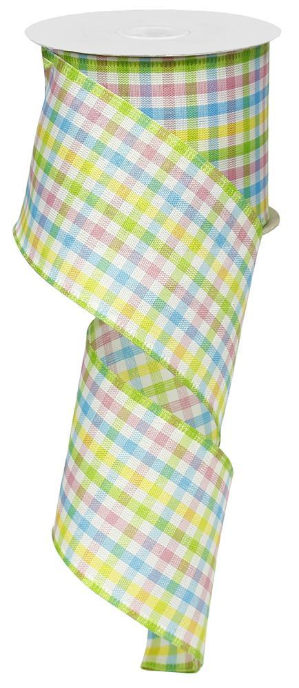 2.5in x 10yd Lime White Yellow Blue Pink Mini Check