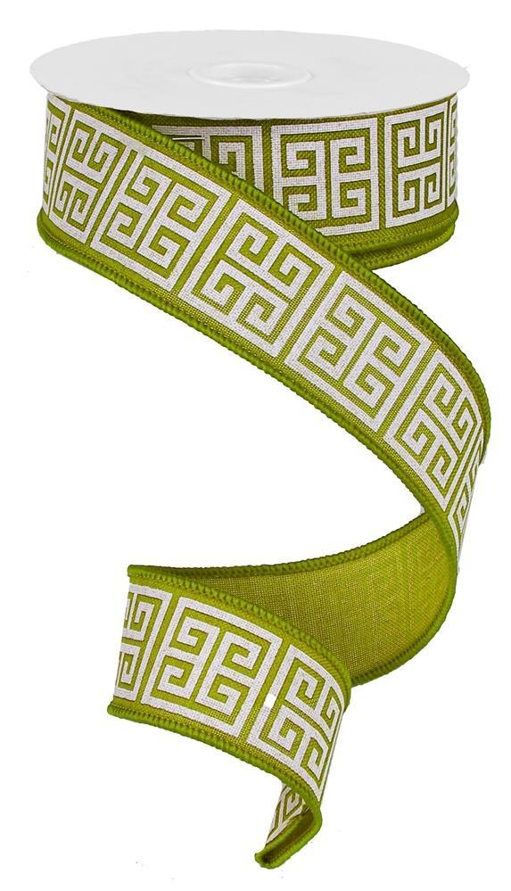 1.5in x 10yd - Moss Green/Ivory Greek Keys Ribbon