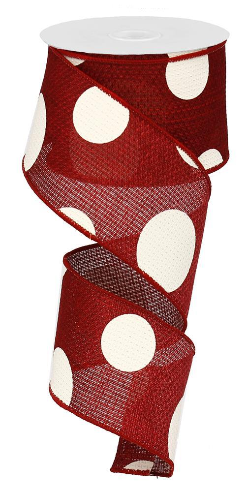 2.5in x 10yd - Burgundy Ivory Giant Multi Dots Ribbon