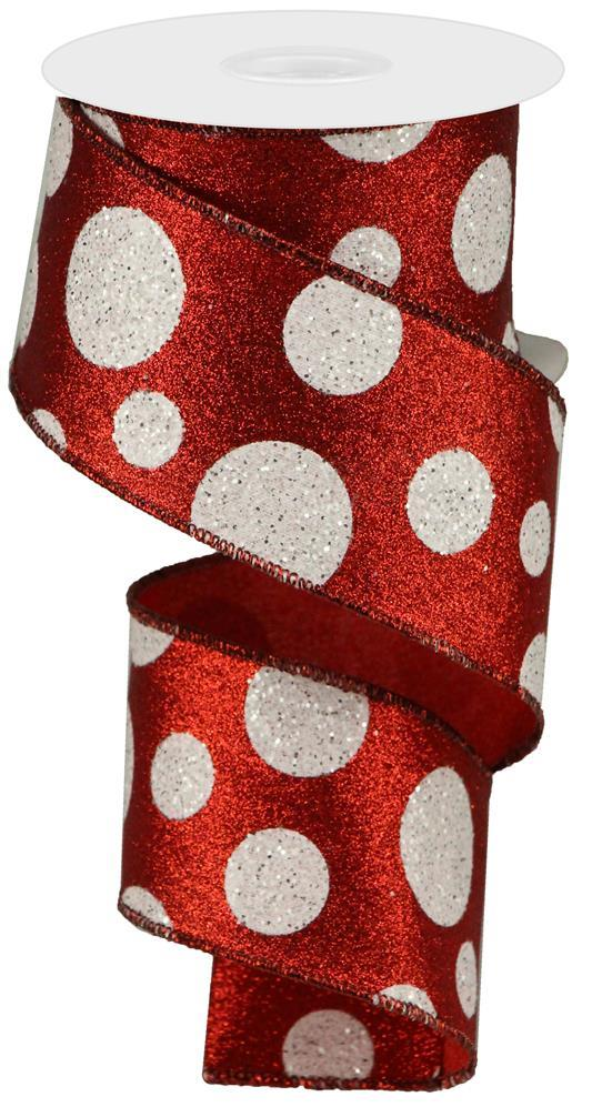 "2.5""x10yd Giant Polka Glitter Dots - Red/White"