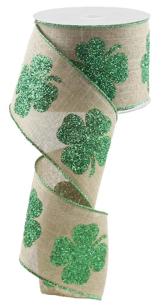 2.5in x 10yd - St. Patrick's Day Bold Clover Print on Royal Ribbon