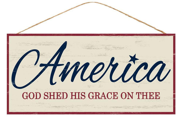 "12.5"" x 6""-Red White Blue-America God Shed His Grace Sign"