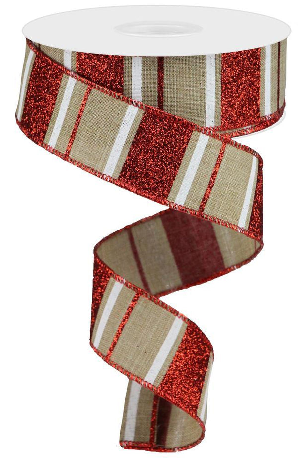 "1.5""x10yd Glitter Stripes - Natural/Red/White"