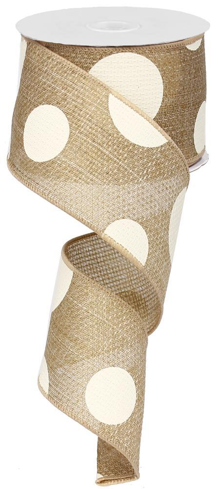 2.5in x 10yd - Beige Giant Multi Dots Ribbon