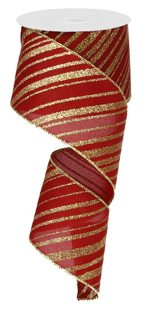 2.5in x 10yd - Burgundy Gold Glitter Ribbon