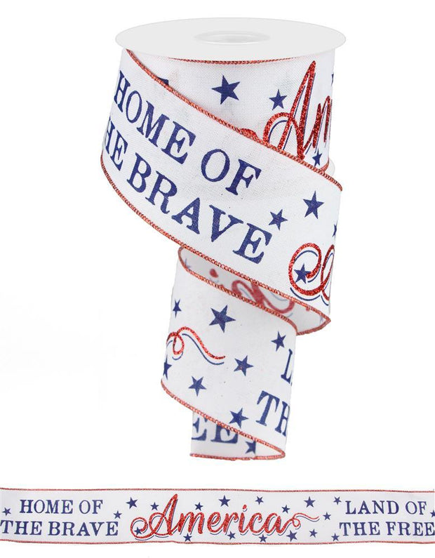 "2.5""x10 America-Home of the Brave - White/Red/Blue"