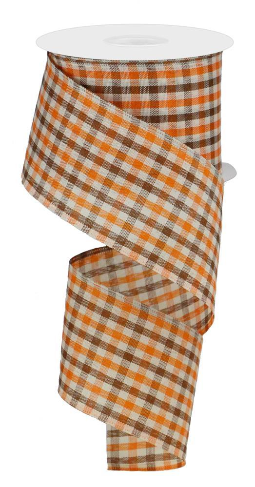 "2.5""x10yd Woven Gingham Check - Orange/Brown/Ivory"